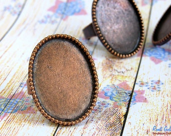 Copper Oval Ring Blank base setting for 23x30 mm cab , Adjustable wide band, oxidized rustic finish, Cameo setting , Statement ring base