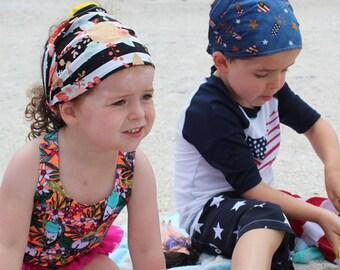 CUSTOM child bandana, boy or girl beach headscarf, wide headband, kids  headscarf, cotton hair wrap, newborn bandana, baby bandana, toddler ccf87e0720b