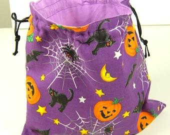 Purple pumpkin Halloween bag, knitting project bag, reusable produce bag, lined cotton bag, all purpose drawstring bag, eco friendly gifts