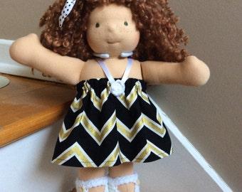 13 inch doll dress fits Bamboletta Cuddle doll, gold black white doll top, 11 12 13 14 waldorf doll clothes, handmade doll dress, girl gift