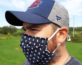 Navy and blue man face mask, filter, nose wire, adjustable ear loops, pleated face mask for boy or teen, masculine reusable barrier mask