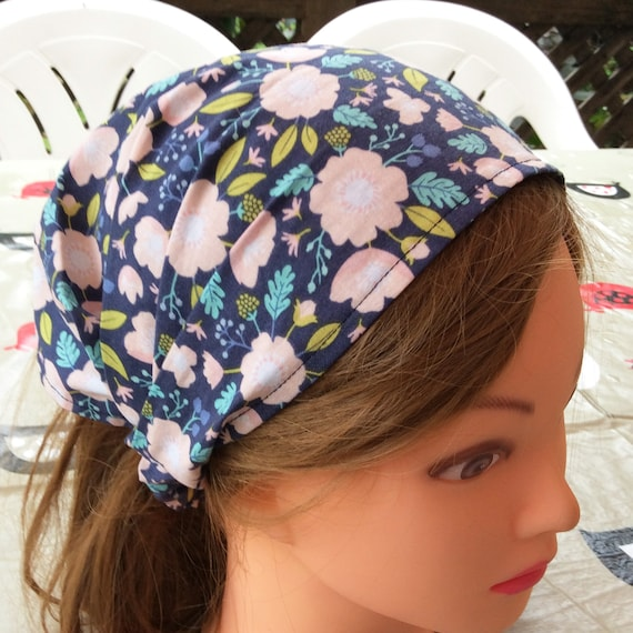 Navy pink floral child bandana baby girl headscarf toddler  52acd365144