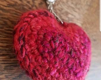 Crocheted heart keyring