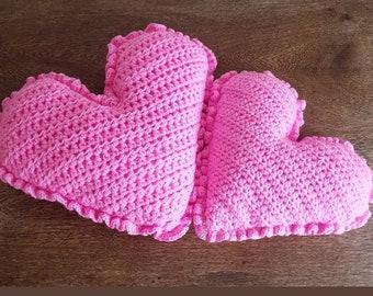 Crocheted heart cushions ( NEW ).