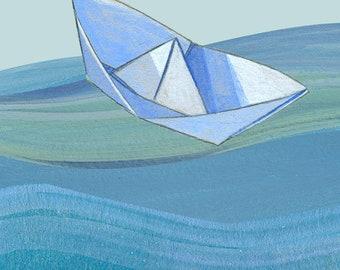 Paperboat Print. Art Print, Wall decoration. Marine Art. Maritime Art. Children Art. Nursery decor.