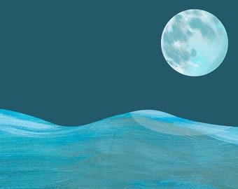 Moon Print. Art Print. Wall Decor, Marine Print. Nursery Decor. Nursery Print Moon. I love you to the moon and back. Calming Wall Art