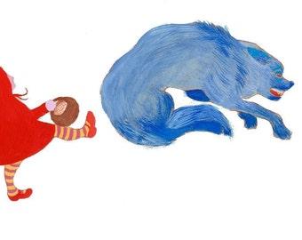 Little Red Riding Hood. Print. Art Print. Wolf. Wall Decoration. Fairy Tale. Kids Room. Kids Art. Illustration.