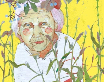 Portrait of a Woman. Print. Art Print. Portrait Painting. Wall decoration. Wall Hanging. Gift for her. Gift for Gardener. Old Lady. Wrinkles
