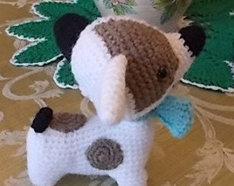 Handmade  100% Wool Amigurumi Jack Russell Dog Soft Toy