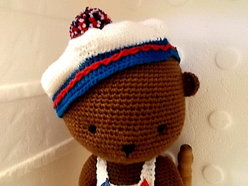 and shoes Hand Crocheted and Knit Teddy Bear in Romper Hat