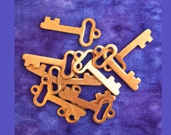 FINAL CLEARANCE - 200+ Copper Key Charms, DeSTASH, 21mm Genuine Copper Metal Skeleton Key Charms - Flat Sheet Copper Plated Metal Keys