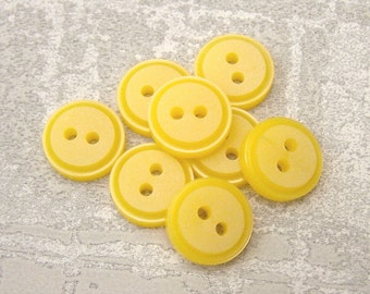 Small Yellow Buttons, 13mm 1/2 inch - Bumblebee Yellow Plastic Sewing Buttons - 8 VTG NOS Little Bright Yellow Sew-Through Buttons PL494