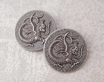 Medieval Dragon Buttons, 33mm 1-1/4 inch - Carved Silver-Tone Metal Dragon Buttons - 2 VTG NOS Glistening Etched Silver Dragon Buttons MT122