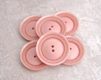 Pastel Pink Buttons, 30mm 1-1/8 inch - CHOOSE Flamingo, Salmon - Matte Pink Sewing Buttons - VTG NOS Satin Pink Etched Wreath Buttons PL650