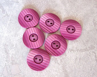 Ombre Pink Buttons, 23mm 7/8 inch - Grooved Modern Fuchsia Purple Sewing Buttons - 6 VTG NOS Magenta Pink Plastic Sew-Through Buttons PL674