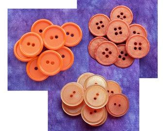 Orange Sewing Buttons, 18mm 19mm 3/4 inch - CHOOSE Burnt Orange PL028, Frosted Luminescent PL207 - VTG NOS Orange Sew-Through Buttons