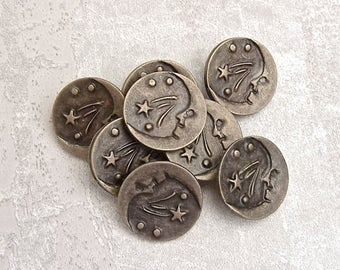 Goodnight Moon Buttons - CHOOSE 15mm 5/8 inch, 18mm 3/4 inch - Bronze Crescent Moon Buttons - 8 VTG NOS Gold Tone Metal Shank Buttons MT114