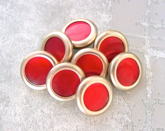 Modern Metal Buttons, 15mm 5/8 inch - VTG NOS Mid-Century Gold-Tone Ring-Around Metal Buttons w/ Strawberry Red Pearl Center MT034