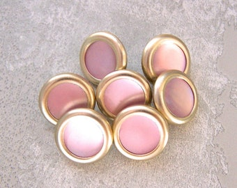 Mid-Century Modern Buttons, 15mm 5/8 inch - 8 Vintage New-Old-Stock Gold-Tone Metal Ring-Around Buttons w/ Pastel Pink Pearl Centers MT035