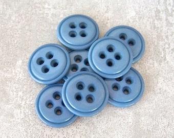 Cornflower Blue Buttons, 19mm 3/4 inch - Semi-Gloss Seaside Blue Sewing Buttons - 8 VTG NOS Summer Blue Big Eyed Sew-Through Buttons PL377