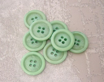 Seafoam Green Buttons, 20mm 3/4 inch - Marbled Mint Green Sewing Buttons - 8 VTG NOS Semi-Translucent Pastel Green Sew-Through Buttons PL405