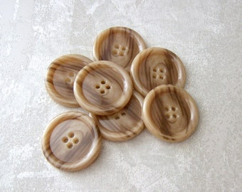 Marbled Brown Buttons, 32mm 1-1/4 inch - Caramel Fudge Brown Plastic Coat Buttons - 7 VTG NOS Classic Faux-Wood Grain Brown Buttons PL113 bb