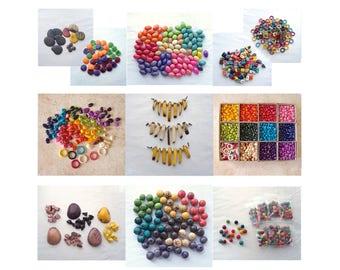 FINAL CLEARANCE - 7900+ Tagua Beads, Destash Tagua Nut Bead, Ring, Medallion, Confetti, Zebra, Rainbow, Nugget, Pebble, Spear, Kidney, Olive