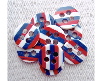 Nautical Stripe Buttons, 19mm 3/4 inch - Chunky Thick Striped Nautical Sewing Buttons - 9 NOS Bicentennial Red White Blue Buttons PL421 bb