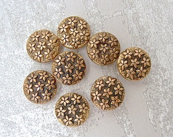 Wee Gold Flower Buttons, 10mm 3/8 inch - Antiqued Gold Tone Flowers Allover Shank Buttons - 8 VTG Gold Metalized Plastic Flower Button PL424