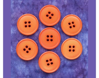 Bright Orange Buttons, 22mm 7/8 inch - Tangerine Orange Plastic Sew-Through Buttons - 7 NOS Energetic Tiger Orange Sewing Buttons PL483 bb