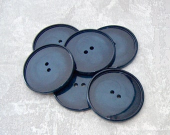 Dark Blue Buttons, 34mm 1-1/4 inch - Variegated Swirled Navy Blue Plastic Buttons - VTG NOS Wafer Thin Glossy Blue Sewing Buttons PL357 bb