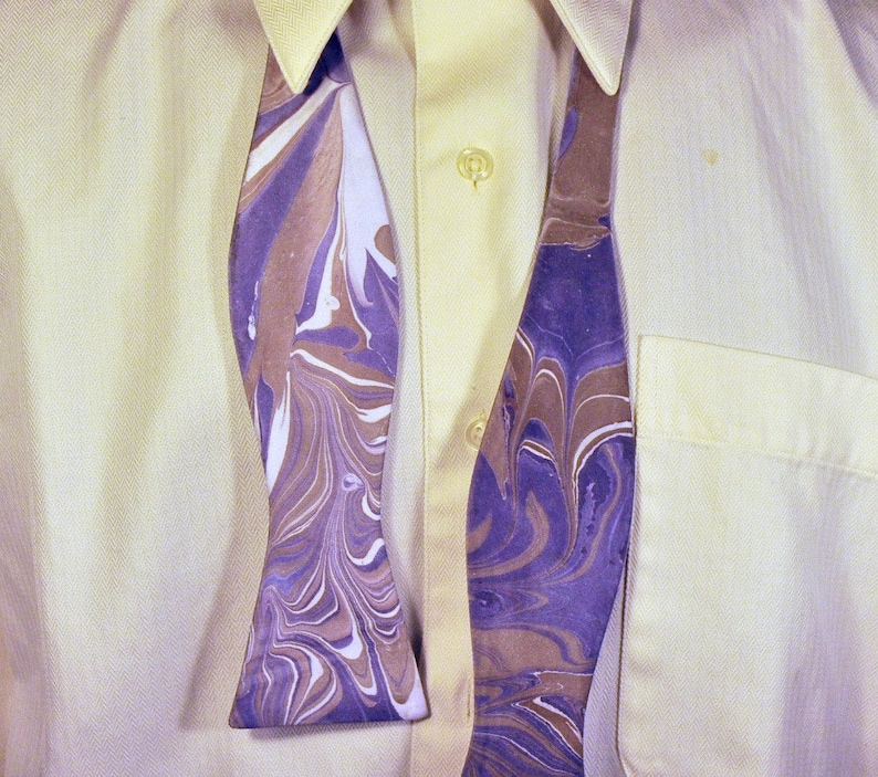 NC MM-#15-30 Striped Formal Bow Tie With Purple and Bronze Colors Made in Asheville