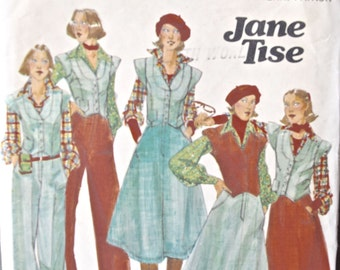 Jane Tise 1970's Butterick 5050 Vintage Sewing Pattern Vest Skirt and Pants Partially Cut Size 8 Bust 31.5