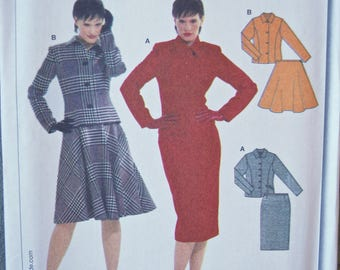 BURDA Sewing Pattern 8164 Misses' Fitted Jacket, Pencil Skirt and Flared Skirt Suit Pattern UNCUT Factory Folds Sizes 6-8-10-12-14-16-18