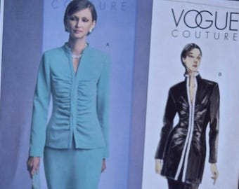 """Vogue 2790 Vogue Couture Sewing Pattern Misses' Ruched Front Jacket and Straight Skirt UNCUT Factory Folds Sizes 6-8-10 Bust 30.5-32.5"""""""