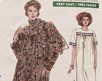 Vogue 7553 Sewing Pattern Vintage 1980s Loose-fitting Dress with Scarf Short or Long Sleeves Very Easy Very Vogue UNCUT Sizes 20-22-24