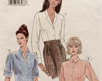 Vogue 9516 Sewing Pattern Vintage 1990s Classic Blouse Button Up Shirt Pattern Shaped Hemline Cuff Variation Collar Options Size 8-10-12 Cut