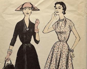 """Advance 8210 Sewing Pattern 1950s Fit and Flare Dress One Piece Dress Plunging V-neck 8 Gore Skirt Sleeve Options Printed Pattern Bust 35"""""""