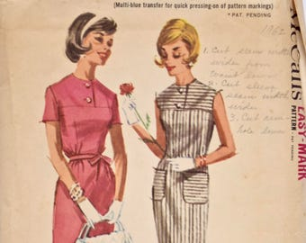 Vintage 1960's McCalls 6324 Sewing Pattern Misses Dress Front and Back Yoke Set In Sleeves Or Sleeveless 60s Dress Pattern Uncut Bust 32