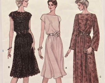 Sewing Pattern Vogue 8183 Vintage 1980s Loose-fitting Pullover Dress Eighties Mid-Knee or Evening Dress Straight Slip Pattern Sizes 16-18