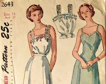 Vintage 1940s Simplicity 2643 Sewing Pattern Princess Slip Lace Ruffle Petticoat and Camisole 40s Lingerie Printed Pattern Bust 32