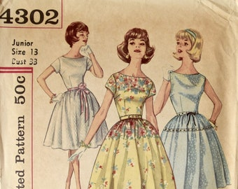 Simplicity 4302 Vintage 1960s Sewing Pattern One-Piece Dress Simple to Make Fit and Flare Gathered Skirt 60s Dress Junior Size Bust 33