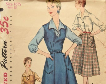 """Simplicity 1284 Sewing Pattern 1950s Wardrobe Dress Jumper 6- Gore Skirt Patch Pockets and Blouse Three Quarter Sleeves UNUSED Bust 35"""""""