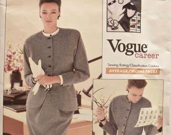 Geoffrey Beene Vogue 2032 Sewing Pattern 1980s Misses' Princess Seam Jacket, Straight Skirt, Pants Suit Vogue Career UNCUT FF Sizes 12-14-16