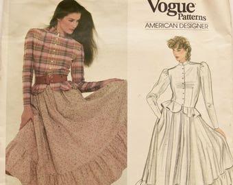 Ralph Lauren Vogue 2968 Sewing Pattern 1980s Prairie Skirt Peplum Top Button Front Shirt American Designer Original Uncut FF Size 10