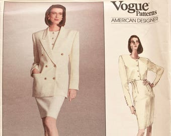 ANNE KLEIN Vogue 2067 Sewing Pattern Semi-Fitted Double Breasted Jacket Button Front Top Tapered Skirt 1980s American Designer Size 12-14-16