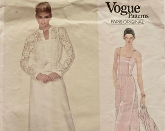 Pierre Balmain Vogue Paris Original 2835 Sewing Pattern Evening Gown with Jacket Wedding Dress Mother of Bride Prom Dress Couture size 12
