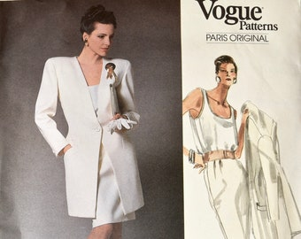Vogue 1867 / Christian Dior Sewing Pattern Vogue Paris Original 1980s Below Hip Jacket Pullover Top Straight Skirt UNCUT FF Size 12