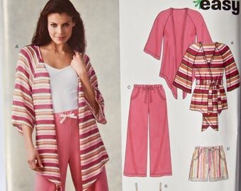 New Look 6651 Easy Sewing Pattern Misses' Stretch Knit Loungewear Pajamas Pants Shorts Camisole Wrap Top UNCUT Factory Folds Sizes 6-16