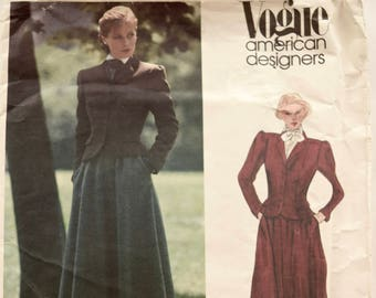 Ralph Lauren Vogue 2615 Sewing Pattern 1980s Equestrian Style Jacket Pattern Gathered Skirt American Designer Original Partially Cut Size 6